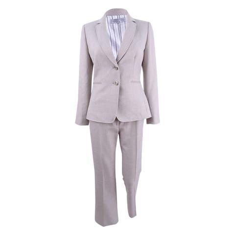 Tahari ASL Women's Plus Size Two-Button Crosshatch Pantsuit - Sand