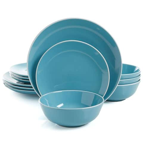Gibson Home Simply Classic 12 Piece Ceramic Dinnerware Set in Blue