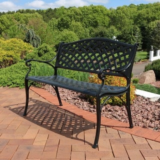 Sunnydaze 2-Person Black Checkered Cast Aluminum Outdoor Patio Garden Bench