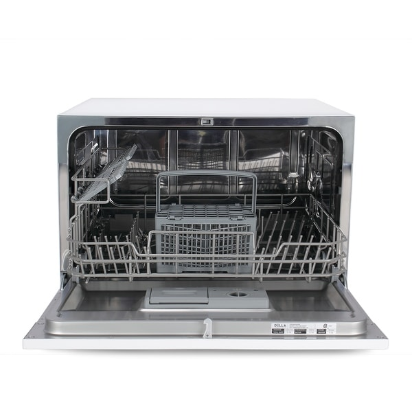 Countertop 6 Place Settings Stainless Steel Dishwasher For Small Kitchen Black