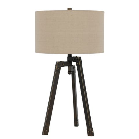 Metal Tripod Base Table Lamp with Fabric Drum Shade, Bronze and Beige