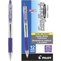 Pilot EasyTouch Retractable Ballpoint Pen, 1.0 mm Medium Point, Purple Ink, Pack of 12