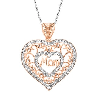 Crystaluxe Domed Heart Pendant with Swarovski Crystals in 14K Rose-Gold Plated Sterling Silver - White