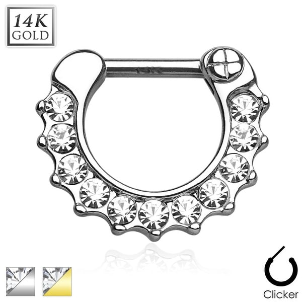 CZ Paved Round Single Line 14Kt Gold Septum Clicker (Sold Individually)