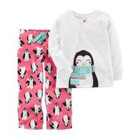 Carter's Baby Girls' 2-Piece Penguin Fleece PJs, 12 Months
