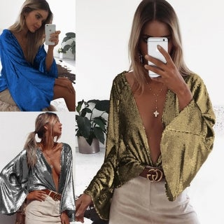 Women's Spring and Autumn Sequined Jacket Trumpet Sleeve Top