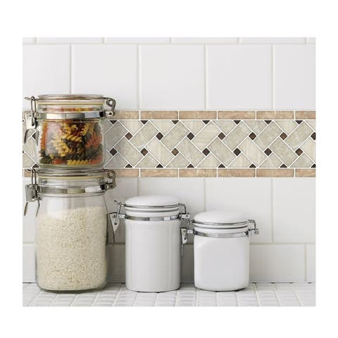 "Art3d Peel and Stick Tile 12.4""x5"" Waist Line Mosaic Tiles (10-Pack)"