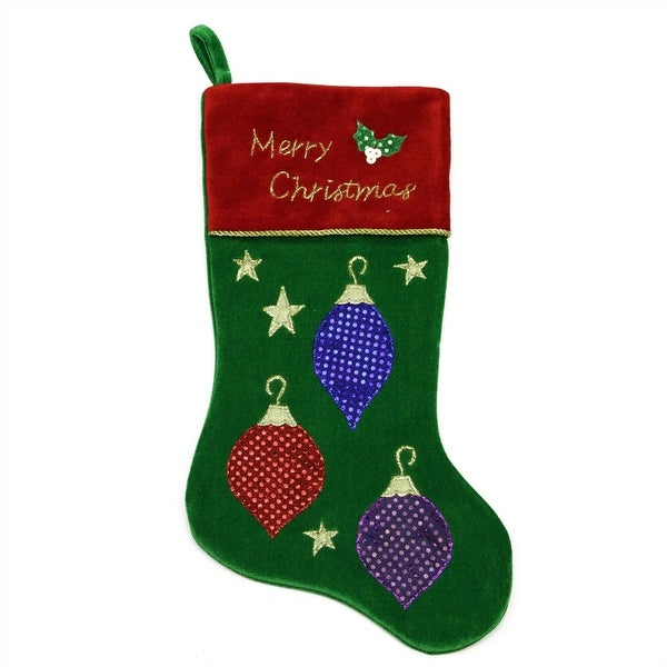 "20"" Green Embroidered Velveteen Christmas Ornament Stocking with Red Cuff"