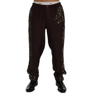 Dolce & Gabbana Bordeaux Floral Silk Pajama Pants - M