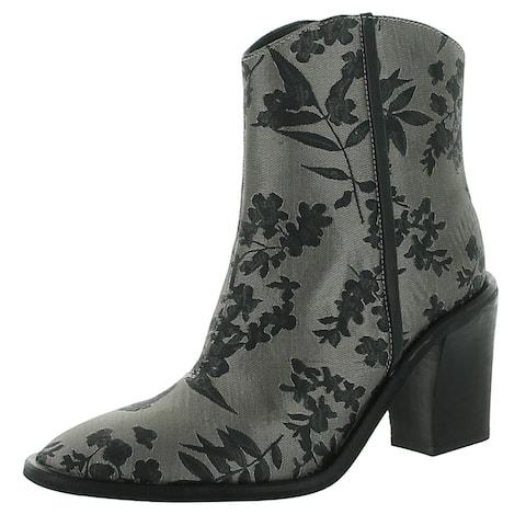 Free People Womens Barclay Cowboy, Western Boots Brocade Block Heel - Black Combo - 37 Medium (B,M)