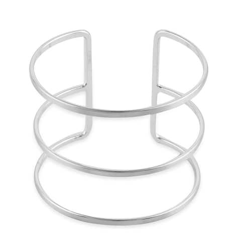 Women Silvertone Cuff Bangle Bracelet Fine Gift Jewelry Size 7 Inch - Bracelet 7''