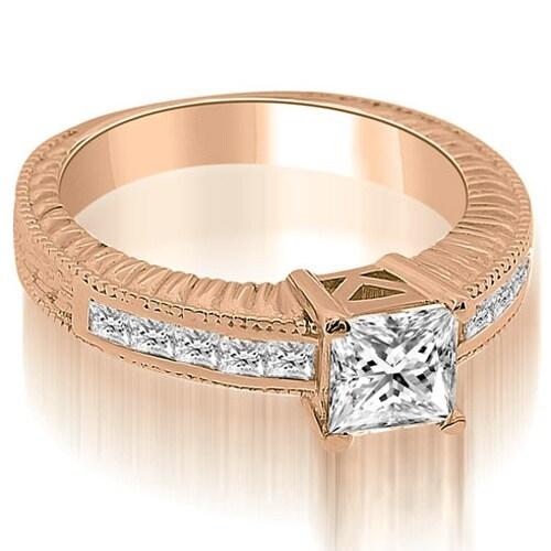 1.40 cttw. 14K Rose Gold Antique Princess Cut Diamond Engagement Ring