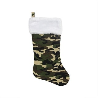 """19"""" Brown, Green & Black Army Camouflage Christmas Stocking with White Faux Fur Cuff"""