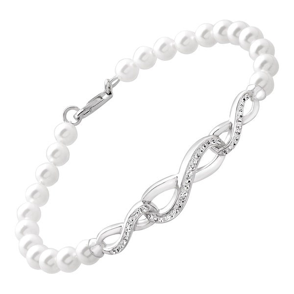 Crystaluxe Bracelet with Swarovski Pearls and Crystal in Sterling Silver - White