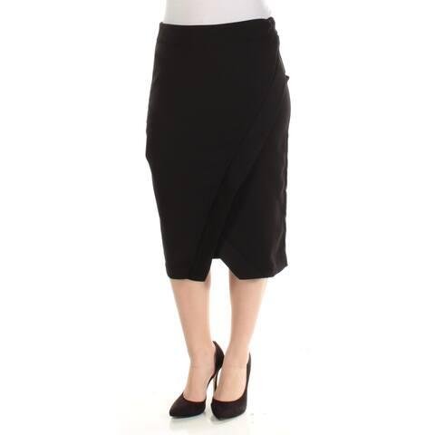 INC Womens New 1100 Black Knee Length Faux Wrap Wear To Work Skirt 6