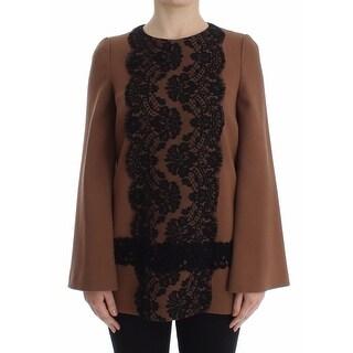 Dolce & Gabbana Dolce & Gabbana Brown Wool Black Lace Sweater Top Runway