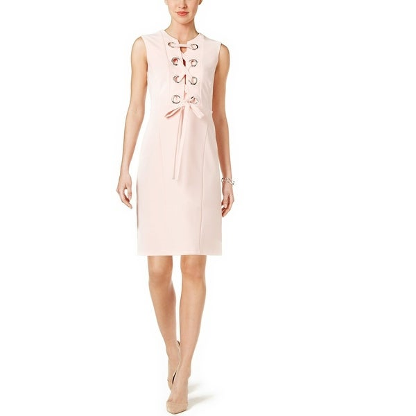 7b5aa267c7481a Shop Tommy Hilfiger Grommet Lace-Up Dress Blush - 14 - Free Shipping On  Orders Over  45 - Overstock - 20537103