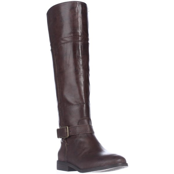 Marc Fisher Aysha Knee-High Riding Boots, Dark Brown Leather