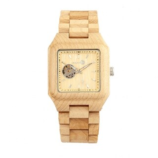 Earth Wood Black Rock Unisex Automatic Watch, Wood Band, Luminous Hands