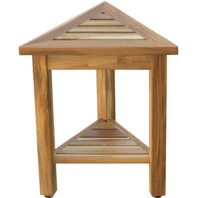 Compact Teak Corner Shower/ Outdoor Bench with Shelf in Natural Finish