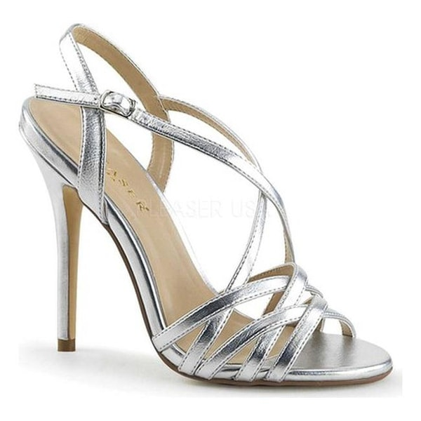 b1c51833fb4f Shop Pleaser Women s Amuse 13 Strappy Sandal Silver Metallic Polyurethane -  Free Shipping On Orders Over  45 - Overstock - 16966197