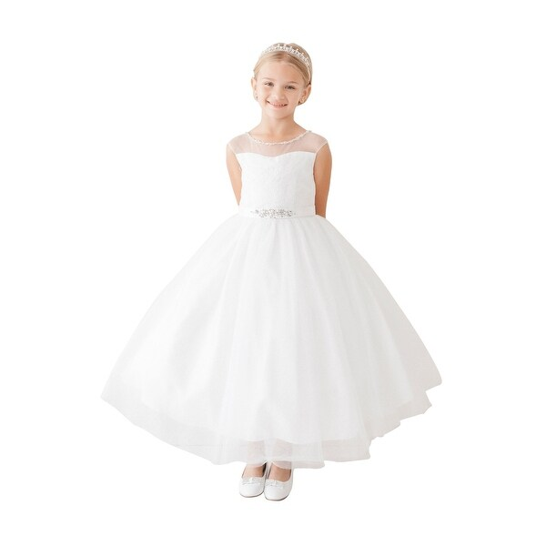 de6ac4bb799c1 Shop Little Girls White Illusion Neck Beaded Lace Belted Flower Girl Dress  - Free Shipping Today - Overstock - 21335502
