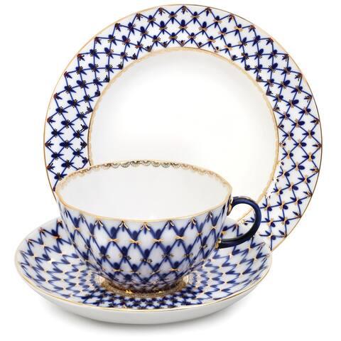 Imperial Porcelain Factory Tulip Cobalt Netting 3 pc. Porcelain Tea Set