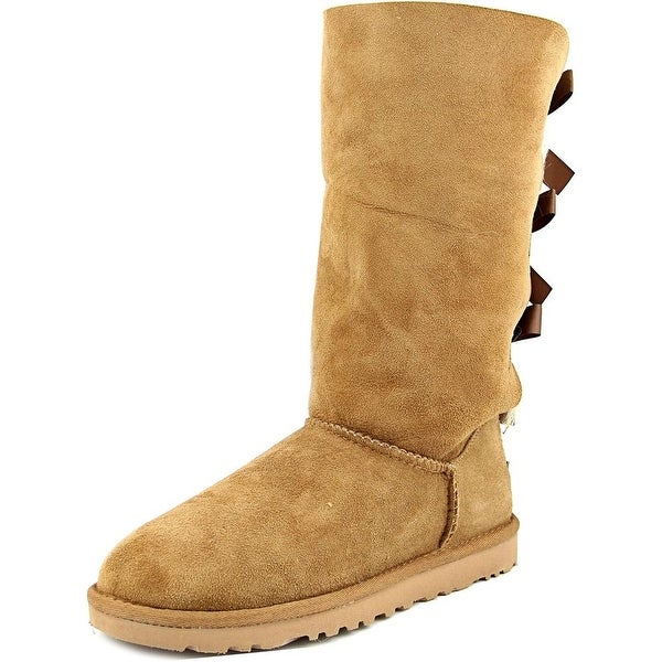 Ugg Australia Bailey Bow Tall Women Round Toe Suede Tan Boot