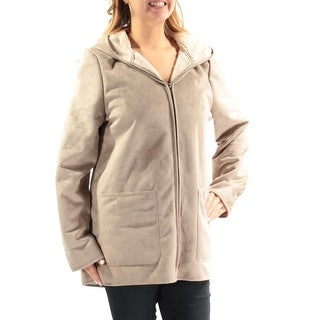 Womens Silver Casual Zip Up Coat Size L