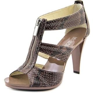 Michael Michael Kors Berkley T Strap Women Open Toe Leather Brown Sandals