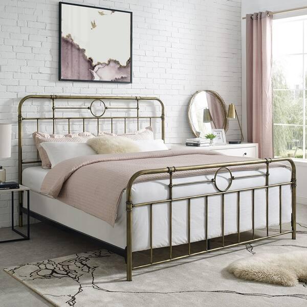 Delacora We Bdkmp King Size Farmhouse Vintage Steel Panel Bed Frame Bronze Overstock 29662235
