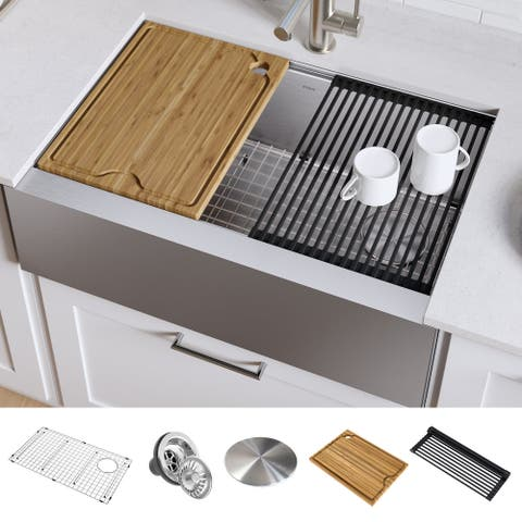 KRAUS Kore Workstation Farmhouse Apron Stainless Steel Kitchen Sink