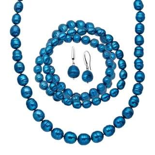 Indigo Freshwater Ringed Pearl Earring, Bracelets & Necklace Set in Sterling Silver - Blue
