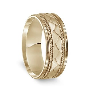 Link to 14k Yellow Gold Woven Pattern Men's Wedding Ring with Rope Milgrain - 8mm Similar Items in Wedding Rings