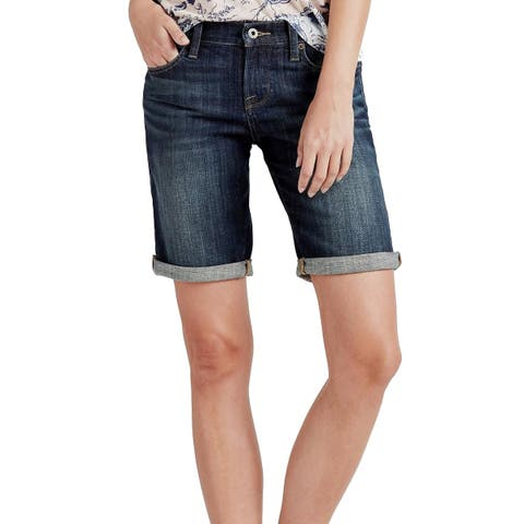 Lucky Brand Womens Shorts Blue Size 0 Cuffed Bermuda Stretch Denim