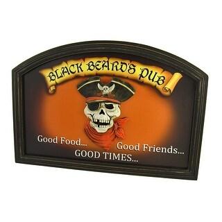 `Black Beard`s Pub` 3D Pirate Skull Wall Plaque - Black