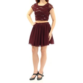 Womens Burgundy Short Sleeve Above The Knee Fit + Flare Party Dress Size: 9