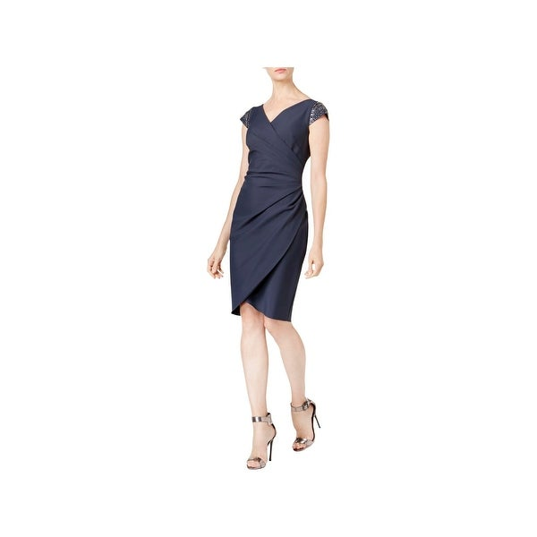 Alex Evenings Womens Cocktail Dress Cap Sleeves Embellished