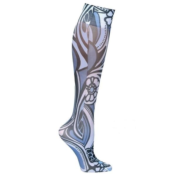 Celeste Stein Moderate Compression Knee High Stockings Wide Calf-Blue/Black Swrl