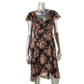 Denim & Supply Ralph Lauren Womens Floral Print Hi-Low Hem Casual Dress
