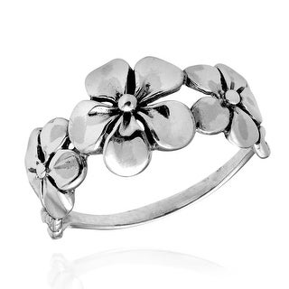 Handmade Hawaiian Triple Flower Sterling Silver Ring (Thailand)