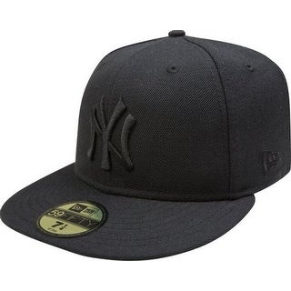 MLB New York Yankees Black on Black 59FIFTY Fitted Cap, 8 - New York Yankees