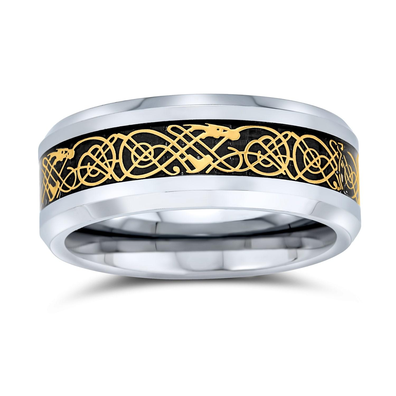 Two Tone Celtic Knot Dragon Inlay Couples Titanium Wedding Band