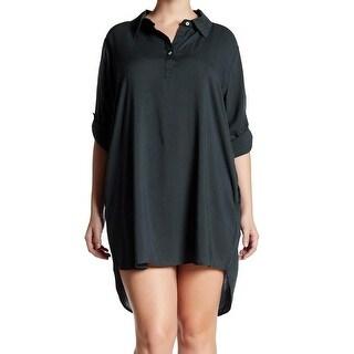 Allen Allen NEW Green Womens Size 2X Plus Solid High-Low Shirt Dress