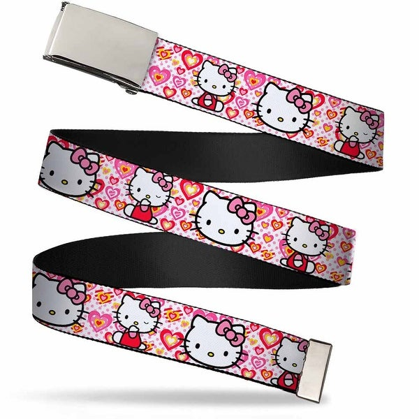 Blank Chrome Bo Buckle Hello Kitty Valentine's Day 1 Webbing Web Belt