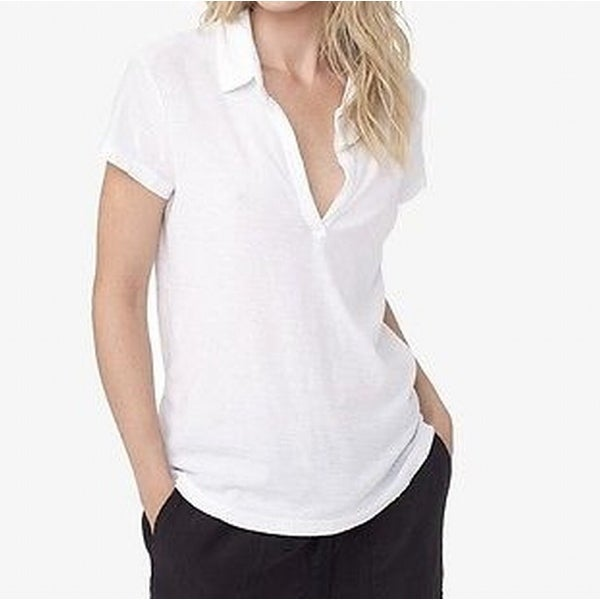 a1595c2c4d0571 Shop James Perse NEW White Womens Size 0 V-Neck Burnout Solid Polo Shirt -  Free Shipping Today - Overstock - 18817799