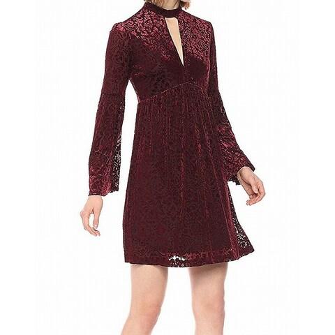 William Rast Womens Velvet Choker V-Neck Sheath Dress