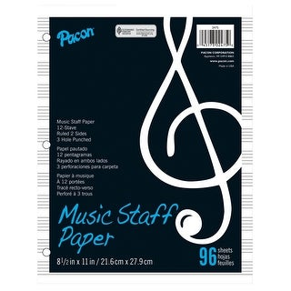 Pacon Music Staff Paper, 8-1/2 x 11 in