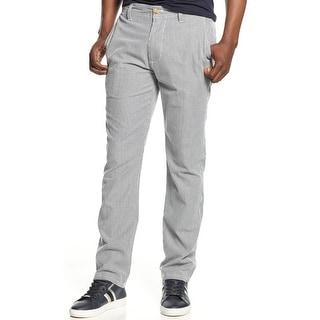 Sean John Double Dart Striped Cotton Chinos Pants Indigo Blue 32 x 30