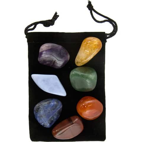 Kheops International Chakra Balancing Kit Amethyst Sodalite Blue Agate Red Tiger - 7 Stones